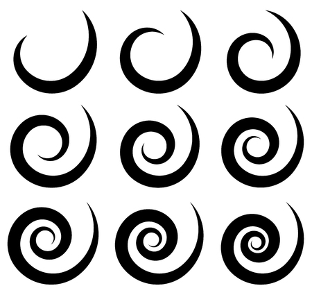 twirl: Set of different spiral, swirl, twirl shapes