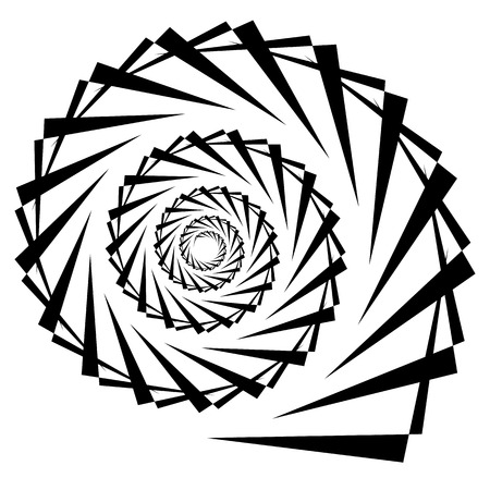 helical: Spiral, vortex, swirl or twirl abstract monochrome graphic. Vector.