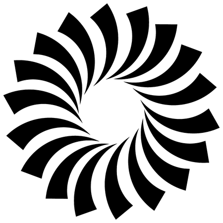 helical: Spiral, vortex, swirl or twirl abstract monochrome graphic. Vector.