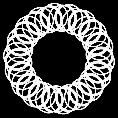 centric: Circular motif, element in black and white. Vector art.