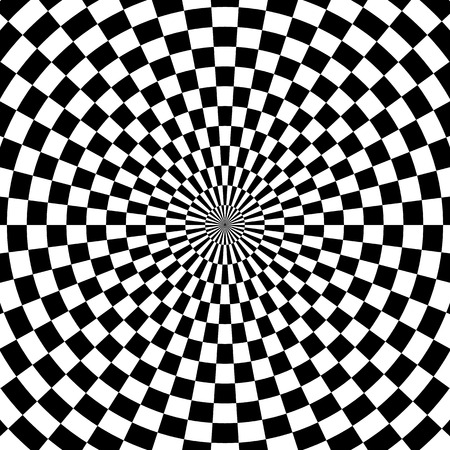 radiating: Abstract background with circular, radiating checkered fill