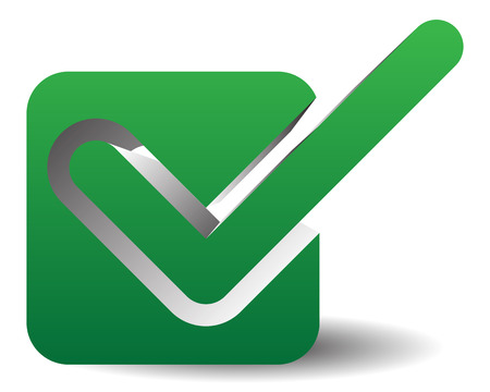validity: Green check mark over square. tick symbol, icon.