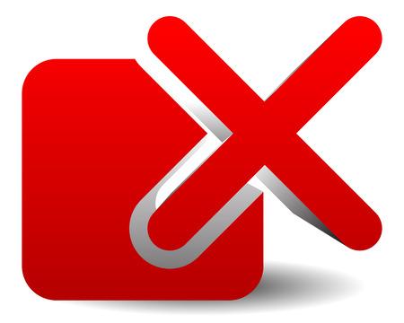 incorrect: Red cross over square. Delete, remove, incorrect icon.