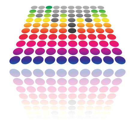 tilted: Dotted EQ, equalizer graphics. (Transparent reflection, vector) Illustration