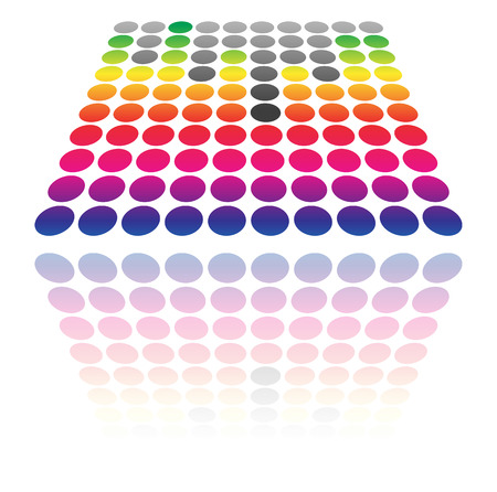 Dotted EQ, equalizer graphics. (Transparent reflection, vector) Illustration