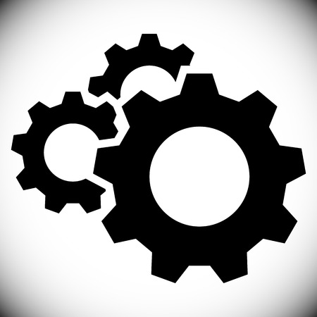 manufacturing occupation: Gears, gear wheels, cog wheels on white Illustration