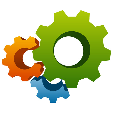 cogs and gears: Gears, gear wheels, cog wheels on white Illustration