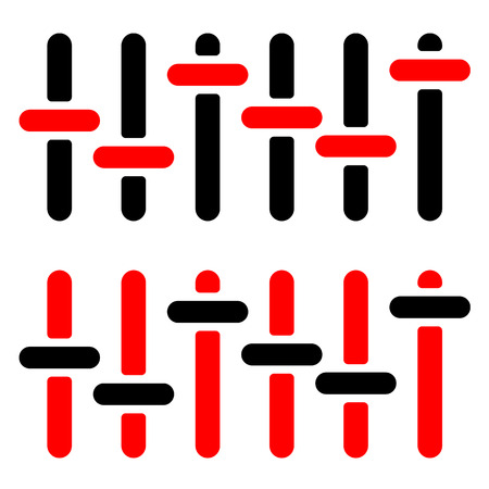 adjuster: Red and black slider, adjuster, fader silhouettes on white.