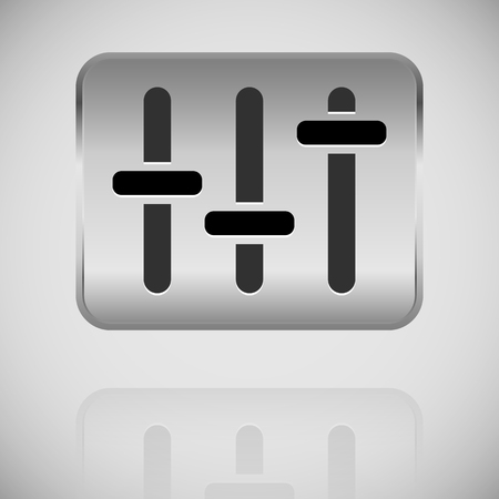 Slider, Fader, Potentiometer Icon On Metal Plate. Royalty Free ...
