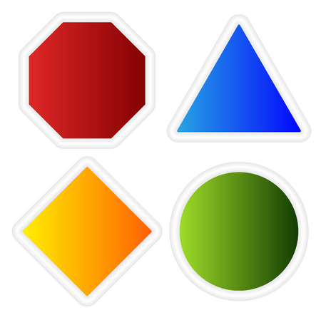 forewarn: Empty signs. Octagon, triangle, square, circle shapes. Illustration
