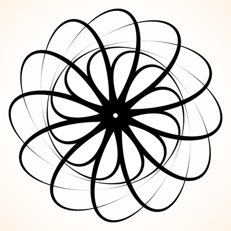 epicenter: Abstract circular element. Spinning, swirling forms, shapes. Single black motif isolated on white.