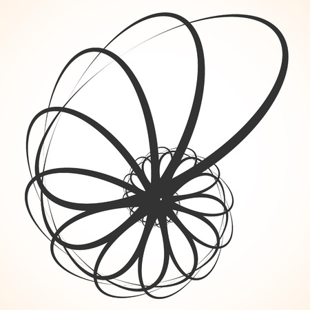 Abstract circular element. Spinning, swirling forms, shapes. Single black motif isolated on white.