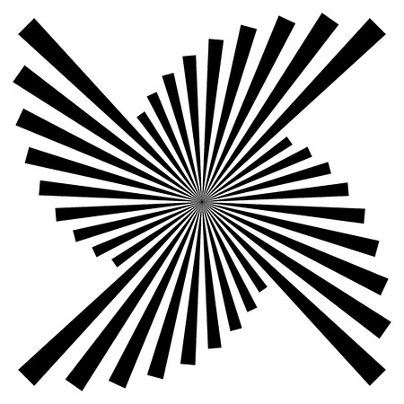 radiating: Isolated radiating, converging, bursting lines. Abstract black and white graphics. Vectores