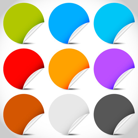 ten empty: Blank peeling sticker set with more colors.