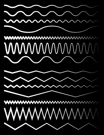 undulating: Set of wavy and zigzag lines on black