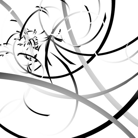 abstractionism: Curved lines randomly, scattered malformed lines with grayscale gradeint fills Vectores