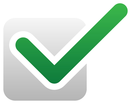 quality check: Green check mark over square. tick symbol, icon.