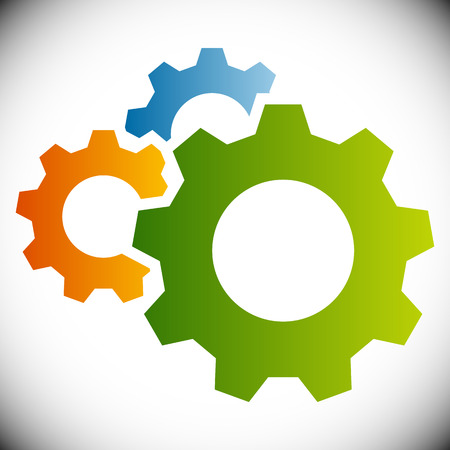 cog wheels: Gears, gear wheels, cog wheels on white Illustration