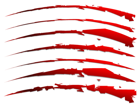 gash: set of slash shapes isolated on white. claw mark, wound, rip vector