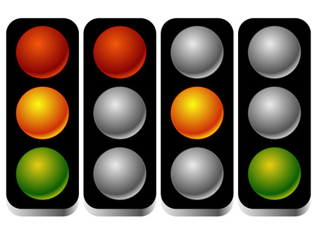 backlog: Set of traffic lights, traffic lamps in sequence