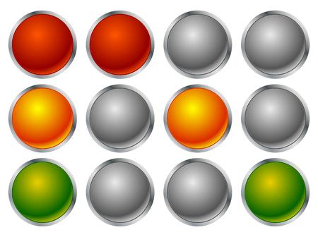 luz roja: Conjunto de los semáforos, el tráfico de lámparas en secuencia Vectores