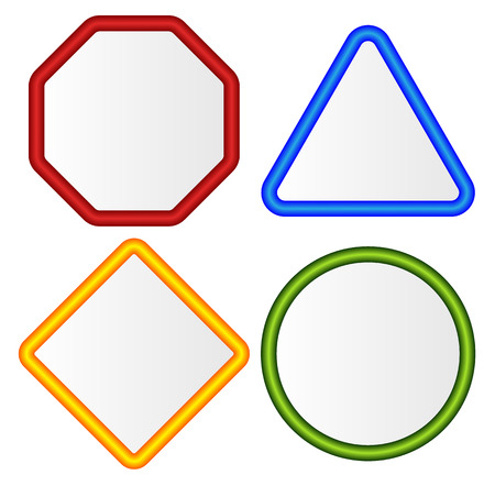 octagon: Empty signs. Octagon, triangle, square, circle shapes. Illustration