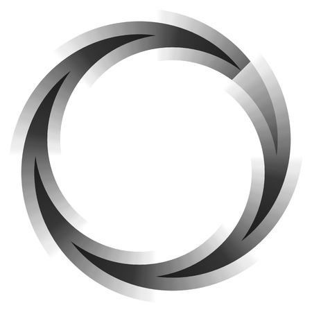 spin: Abstract circular element. Spinning, swirling forms, shapes. Single black motif isolated on white.