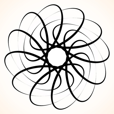 subconscious: Abstract circular element. Spinning, swirling forms, shapes. Single black motif isolated on white.