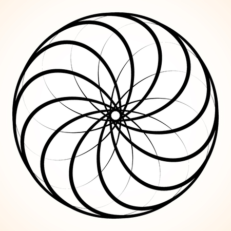 mesmerize: Abstract circular element. Spinning, swirling forms, shapes. Single black motif isolated on white.