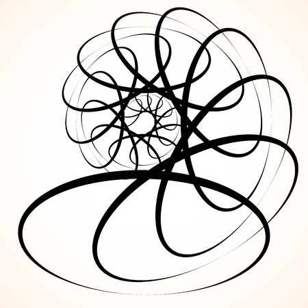 vertigo: Abstract circular element. Spinning, swirling forms, shapes. Single black motif isolated on white.