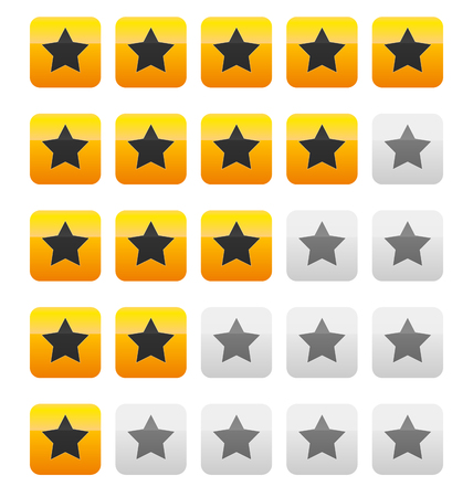 five stars: Star rating vector. Star rating wih squares.