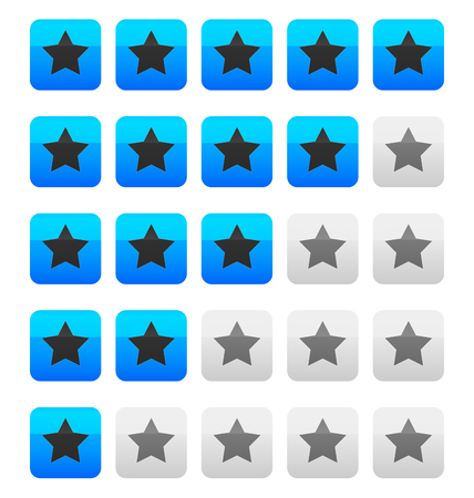 별: Star rating vector. Star rating wih squares.