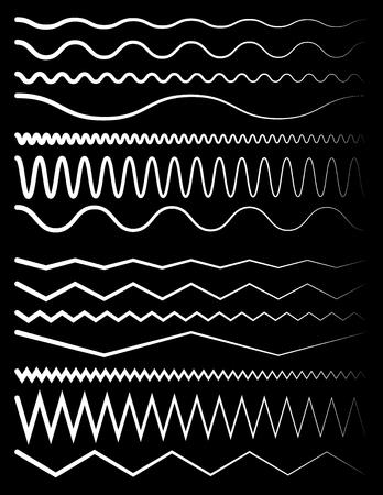 equaliser: Set of wavy and zigzag lines on black