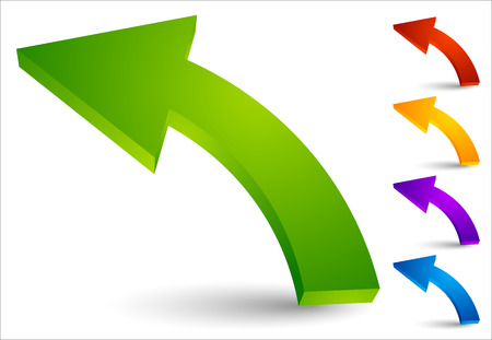 Set of curved, colored arrows pointing left Stock Illustratie