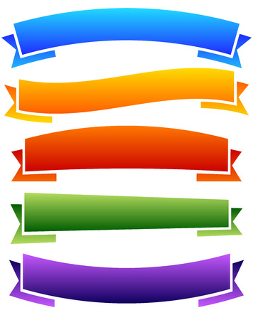 ribon: Set of colorful, blank banner, ribbon backgrounds.