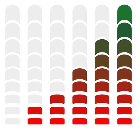 rating gauge: level, bar, loading, progress, progression, indicator, high, low, min, max, minimum, maximum, set, rating, benchmark, completion, charge, indication, steps, phases, recharge, vector, meter, gauge, guage, measurement, rate, comparison, chart, capacity, ele