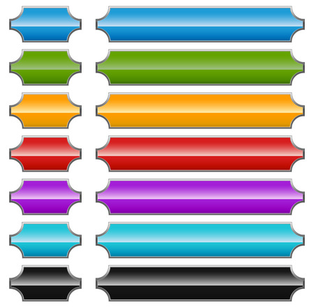 beveled corners: Set of colorful banner or button backgrounds on white. Illustration