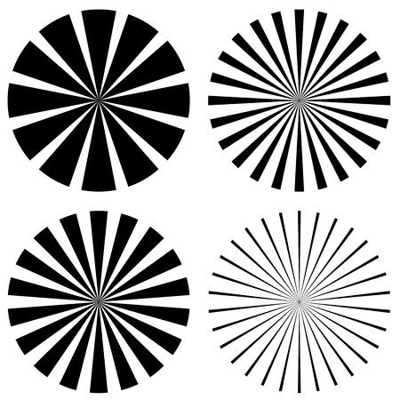 converging: Starburst, converging lines, sunburst shape set. Vector art. Illustration