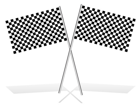 accomplish: Crossed checkered racing flags on white, with shadow