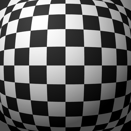 protuberant: Abstract checkered pattern with bulging distortion. Vector art.