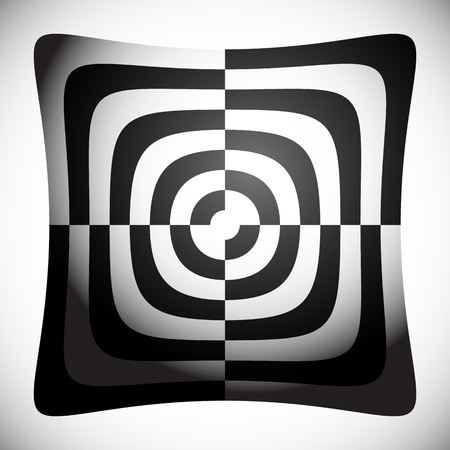 surrealistic: Abstract shape, element with checkered filling. Vector art. Illustration