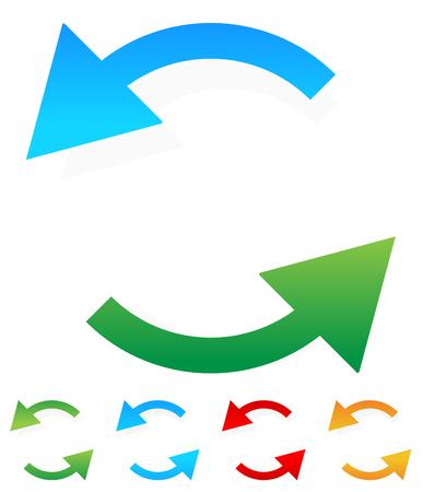 flechas curvas: Circular, que gira alrededor de flechas en blanco. gráficos coloridos.