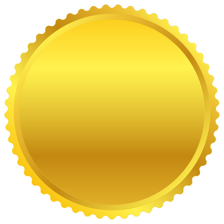 starburst: Golden starburst, badge shape isolated on white. Illustration