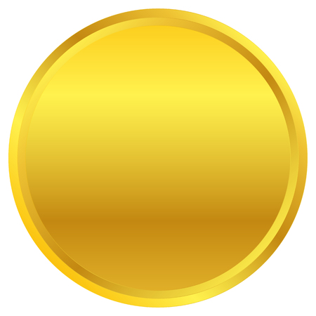 Golden circle badge shape isolated on white.