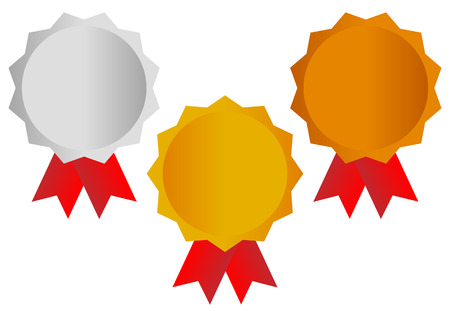 gold silver bronze: Gold, silver, bronze awards, medals with red ribbons. Illustration