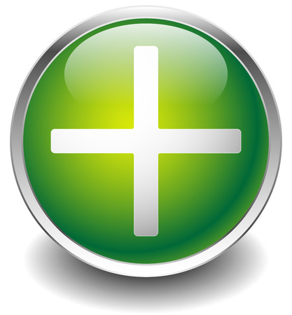 expand: Glossy icon with plus symbol. Healthcare, first aid icon, add, expand, increase button.