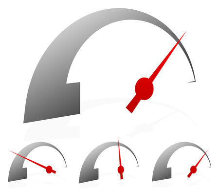 moderate: Dial, gauge with red needle on white Illustration