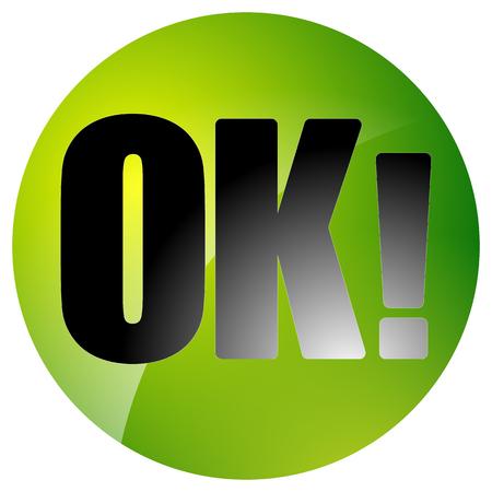 okey: Circle button, icon with word OK on white