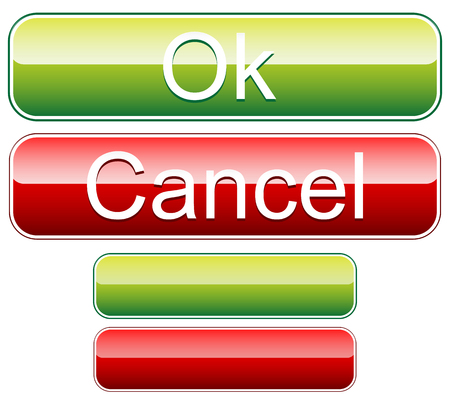 Ok, cancel buttons with blank versions. Vector. Illustration