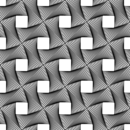 woven: Seamless pattern with intertwined, braided, connected lines texture. Vector art.